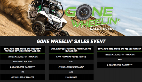 Arctic Cat Gone Wheelin' Sales Event!