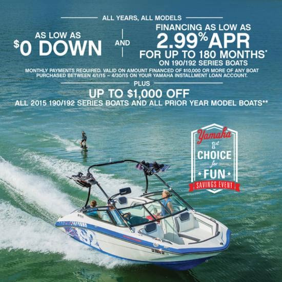 Yamaha Motor Corp., USA Financing as Low as 2.99% APR for Up to 180 Months!