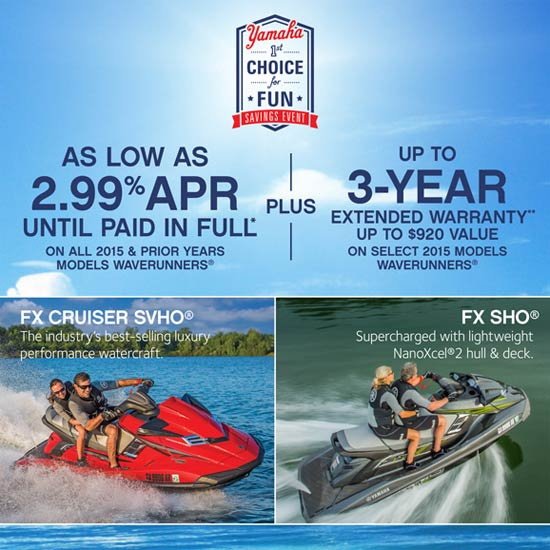 Yamaha Motor Corp., USA As Low As 2.99% APR PLUS 3-Year Extended Warranty!