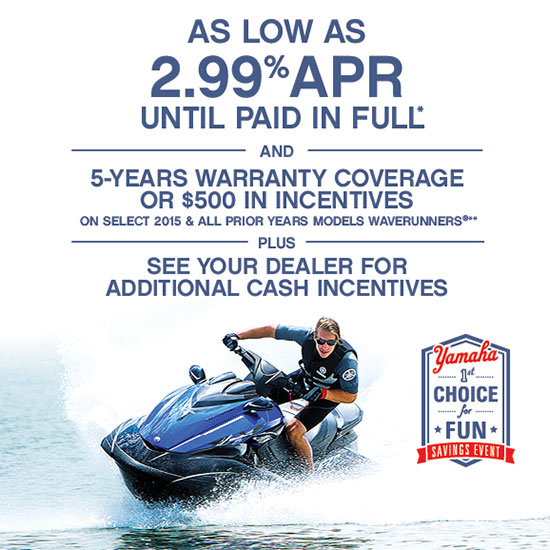 Yamaha Motor Corp., USA As Low As 2.99% APR PLUS 5-Year Extended Warranty!