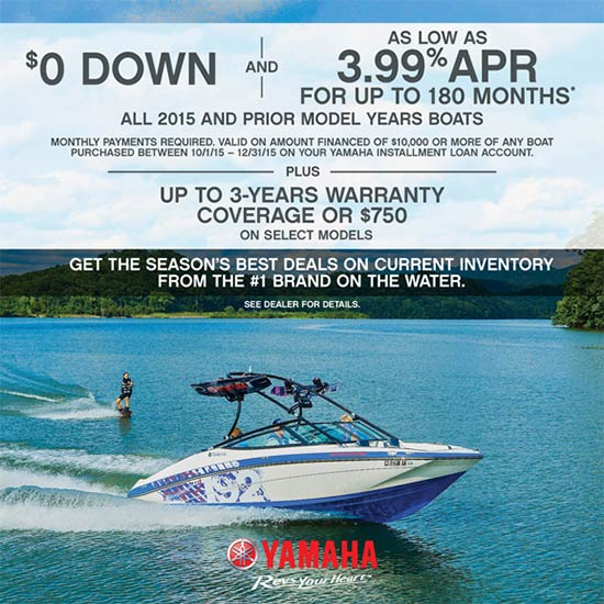 Yamaha Motor Corp., USA Financing as Low as 3.99% APR for Up to 180 Months!