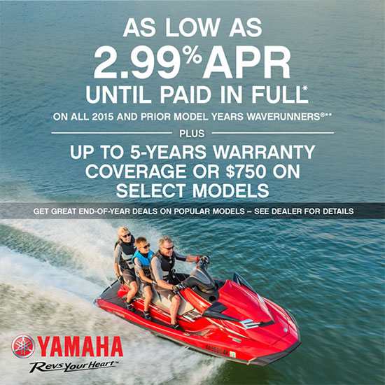 Yamaha Motor Corp., USA As Low As 2.99% APR PLUS Up to 5-Year Warranty!