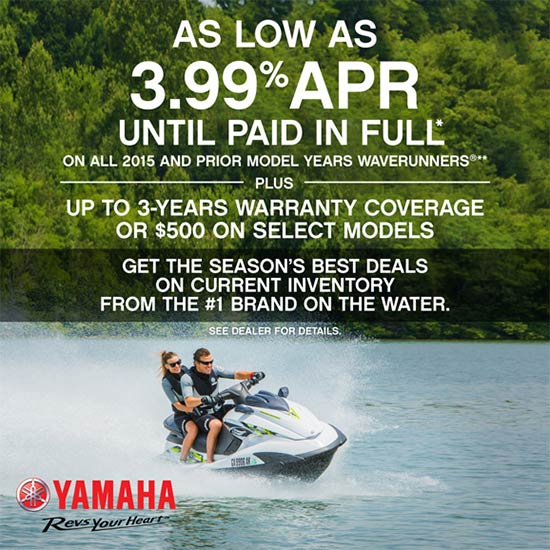 Yamaha Motor Corp., USA As Low As 3.99% APR PLUS Up to 3-Year Warranty!