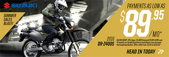 Suzuki Motor of America Inc. DR-Z400S Summer Sales Blast Promotional Payment