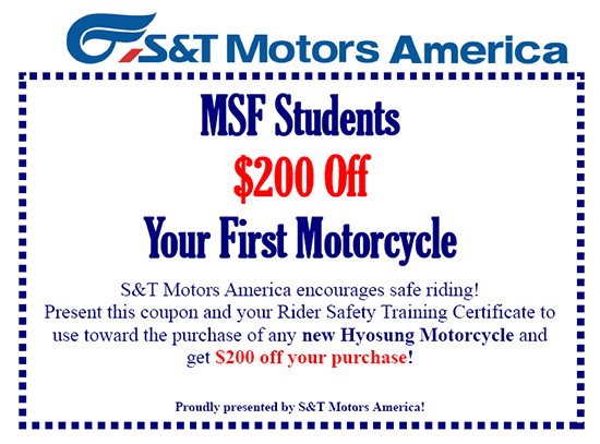 Hyosung $200 Off Your First Motorcycle For MSF Students!