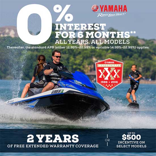 Yamaha Motor Corp., USA 0% Interest For 6 Months!