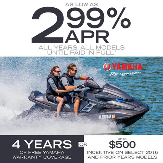 Yamaha Motor Corp., USA As Low As 2.99% APR Until Paid In Full!