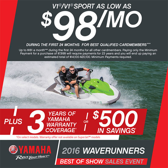 Yamaha Motor Corp., USA V1™ / V1™ Sport As Low As $98 per Month!
