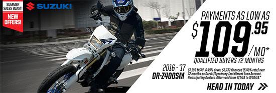 Suzuki Motor of America Inc. DR-Z400SM Summer Sales Blast
