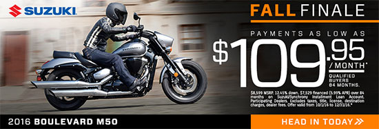 Suzuki Motor of America Inc. Suzuki Boulevard M50 Fall Finale Promotional Payment