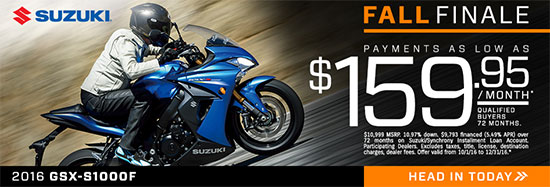 Suzuki Motor of America Inc. GSX-S1000F ABS Fall Finale Promotional Payment