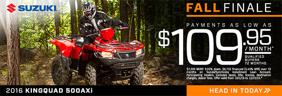 Suzuki Motor of America Inc. KINGQUAD 500ASi Fall Finale Promotional Payment