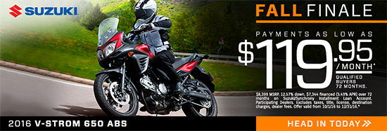 Suzuki Motor of America Inc. V-STROM 650 ABS Fall Finale Promotional Payment