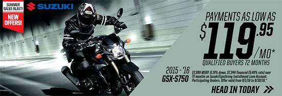 Suzuki Motor of America Inc. GSX-S750 Summer Sales Blast