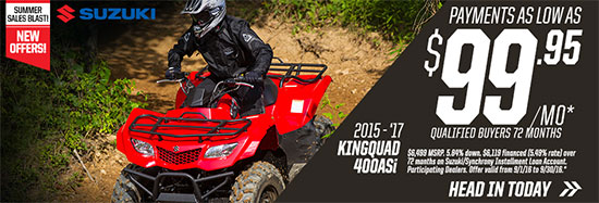 Suzuki Motor of America Inc. KINGQUAD 400ASi Summer Sales Blast