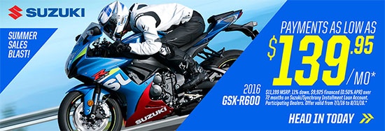 Suzuki Motor of America Inc. GSX-R600 Summer Sales Blast Promotional Payment