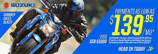 Suzuki Motor of America Inc. GSX-S1000 Summer Sales Blast Promotional Payment