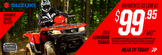 Suzuki Motor of America Inc. KingQuad 500AXi Summer Sales Blast Promotional Payment