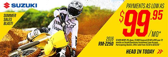 Suzuki Motor of America Inc. RM-Z250 Summer Sales Blast Promotional Payment