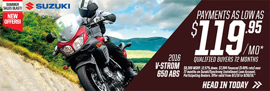Suzuki Motor of America Inc. V-STROM 650 ABS Summer Sales Blast