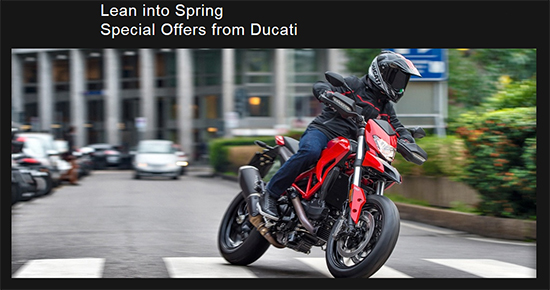 Ducati Lean into Spring - 1.99% Financing on Select 2016 Models!