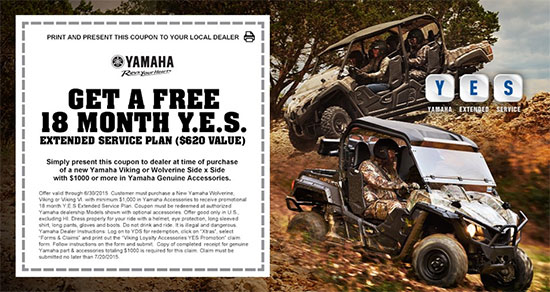 Yamaha Motor Corp., USA Get a Free 18 Month Y.E.S.!