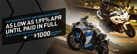 Yamaha Motor Corp., USA Get Out and Ride Sales Event - Street!