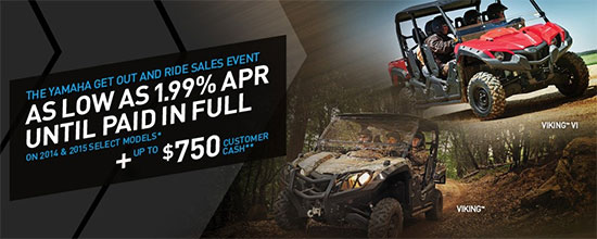 Yamaha Motor Corp., USA Get Out and Ride Sales Event!
