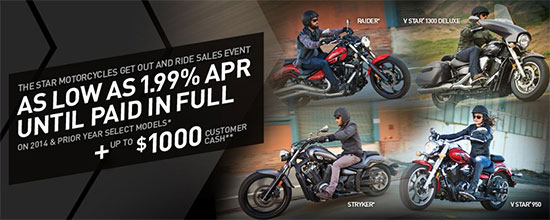 Yamaha Motor Corp., USA Get Out and Ride Sales Event - Star!