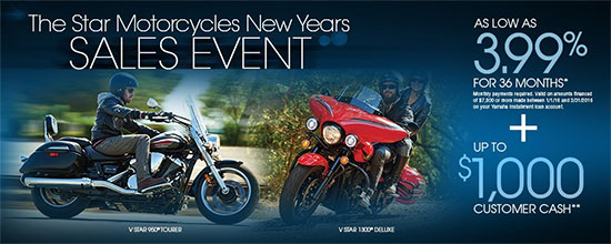 Yamaha Motor Corp., USA The Star Motorcycles New Years Sales Event!