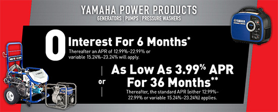 Yamaha Motor Corp., USA 0 Interest for 6 Months!