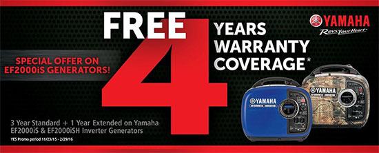 Yamaha Motor Corp., USA Free 4 Years Warranty Coverage!