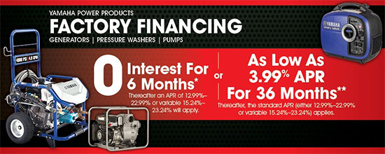 Yamaha Motor Corp., USA Factory Financing!