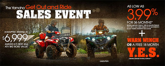 Yamaha Motor Corp., USA The Yamaha Get Out and Ride Sales Event - Utility!