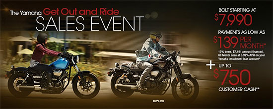 Yamaha Motor Corp., USA The Star Get Out and Ride Sales Event!