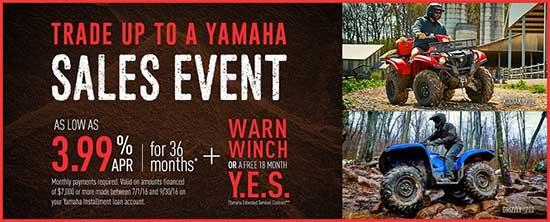 Yamaha Motor Corp., USA Trade Up to A Yamaha Sales Event - Utility!