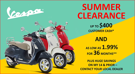 Vespa 2016 Summer Clearance!