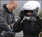 Motorcyclists in skilled motorcycle rider training